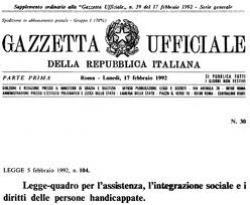 Immagine che rappresenta la copertina della Gazzetta Ufficiale dove è pubblicata la legge 104