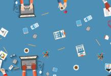 Immagine che rappresenta elementi stilizzati di oggetti e situazioni che avvengono sulle postazioni di lavoro. Nell'immagine sono rappresentate delle situazioni simboliche di lavoro che coinvolgono persone che appartengono alle diverse categorie: donne, uomini, persone di origine straniera, persone con disabilità