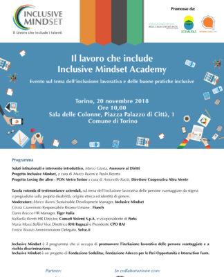 Locandina incontro Inclusive Mindset 20 Novembre 2018 Torino